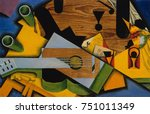 still life with a guitar  by...   Shutterstock . vector #751011349