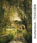 landscape with a sunlit stream  ... | Shutterstock . vector #751011808