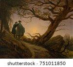 two men contemplating the moon  ...   Shutterstock . vector #751011850