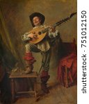 soldier playing the theorbo  by ... | Shutterstock . vector #751012150