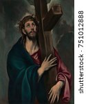 christ carrying the cross  by... | Shutterstock . vector #751012888