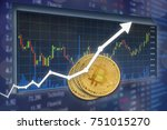 bitcoin with value increase... | Shutterstock . vector #751015270