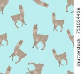 seamless pattern with llama... | Shutterstock .eps vector #751024426