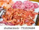 raw meat and pork on plate ...   Shutterstock . vector #751024684