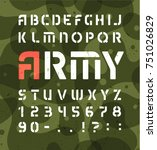 army alphabet. stencil military ... | Shutterstock .eps vector #751026829