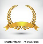 golden leaves wreath .vector... | Shutterstock .eps vector #751030108