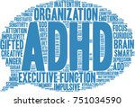 adhd word cloud on a white... | Shutterstock .eps vector #751034590