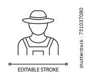farmer linear icon.... | Shutterstock .eps vector #751037080