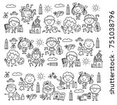kindergarten school education... | Shutterstock .eps vector #751038796