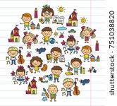 kindergarten school education... | Shutterstock .eps vector #751038820