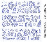 kindergarten school education... | Shutterstock .eps vector #751038976