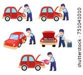 auto mechanic working in car... | Shutterstock .eps vector #751041010