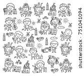 kindergarten school education... | Shutterstock .eps vector #751041094