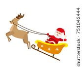 funny santa claus riding... | Shutterstock .eps vector #751042444