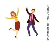 happy young man and woman ... | Shutterstock .eps vector #751042834
