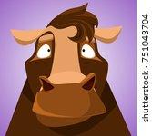 funny horse. cute avatar of...   Shutterstock .eps vector #751043704