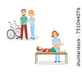 medical rehabilitation  nurse... | Shutterstock .eps vector #751044076