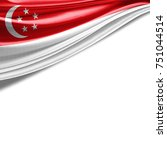 singapore flag of silk with... | Shutterstock . vector #751044514
