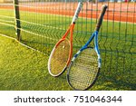 tennis ball and rackets under... | Shutterstock . vector #751046344