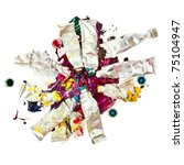 Tubes Of Colorful Oil Paint On...