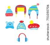 set of cute hand drawn winter... | Shutterstock .eps vector #751050706