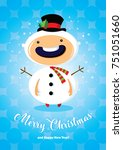 christmas card with boy in... | Shutterstock .eps vector #751051660
