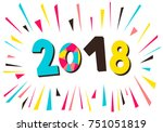 2018. vector illustration with... | Shutterstock .eps vector #751051819
