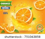 orange juice advertising... | Shutterstock .eps vector #751063858