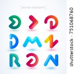 vector abstract logo elements...   Shutterstock .eps vector #751068760