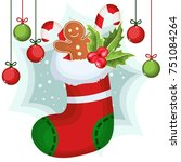 christmas sock with gifts ... | Shutterstock .eps vector #751084264
