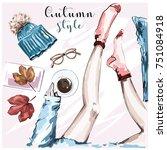 hand drawn stylish autumn set... | Shutterstock .eps vector #751084918