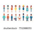 big set of characters in flat... | Shutterstock .eps vector #751088053