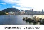 hong kong island across the...   Shutterstock . vector #751089700