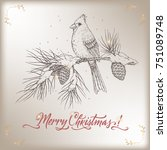 vintage christmas card with... | Shutterstock .eps vector #751089748