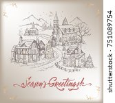 vintage christmas card with... | Shutterstock .eps vector #751089754