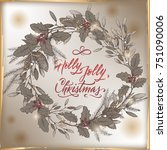 vintage christmas card template ... | Shutterstock .eps vector #751090006