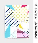 colorful pop art geometric... | Shutterstock .eps vector #751091410