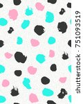 seamless pattern with ink brush ... | Shutterstock .eps vector #751093519