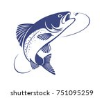 the figure shows the fly fishing | Shutterstock .eps vector #751095259