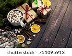 a cup of hot coffee with... | Shutterstock . vector #751095913