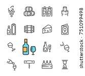black line wine icons set.... | Shutterstock .eps vector #751099498