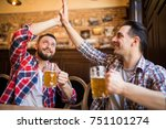 happy young bearded man... | Shutterstock . vector #751101274
