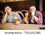 young bearded man looking upset ... | Shutterstock . vector #751101280