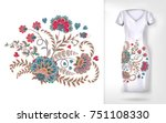 embroidery colorful trend... | Shutterstock . vector #751108330