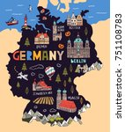 illustrated map of germany.... | Shutterstock .eps vector #751108783