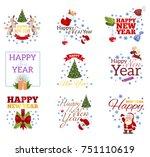 happy new year. set of... | Shutterstock .eps vector #751110619