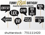 set of funny eighteen birthday... | Shutterstock .eps vector #751111420