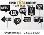 set of funny eighteen birthday... | Shutterstock .eps vector #751111420