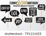 set of funny twenty birthday... | Shutterstock .eps vector #751111423