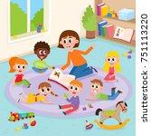 kindergarten kids in classroom... | Shutterstock .eps vector #751113220